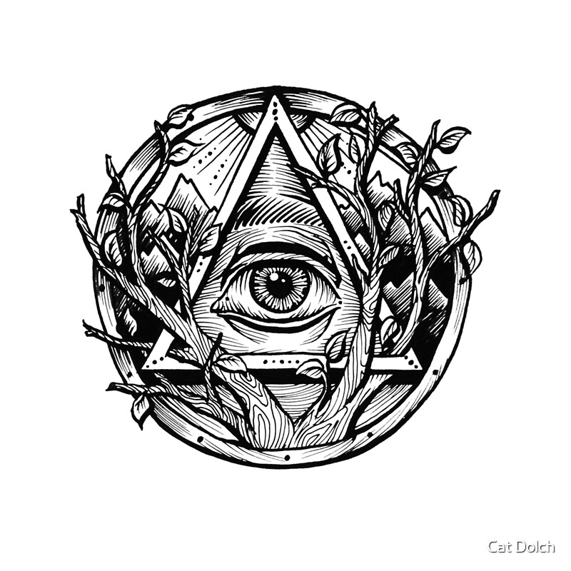 All seeing eye evil eye triangle