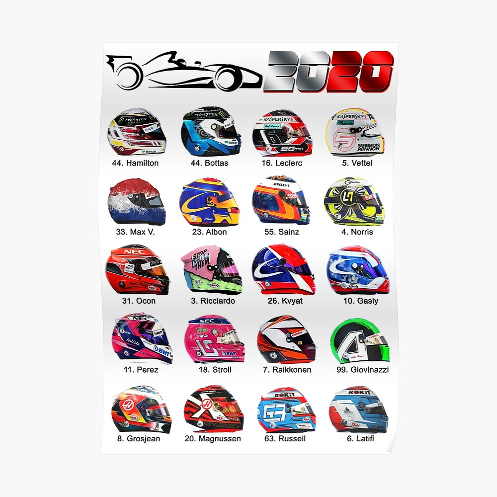 Race Cars Formula 2020 Helmets Of Drivers White Poster By
