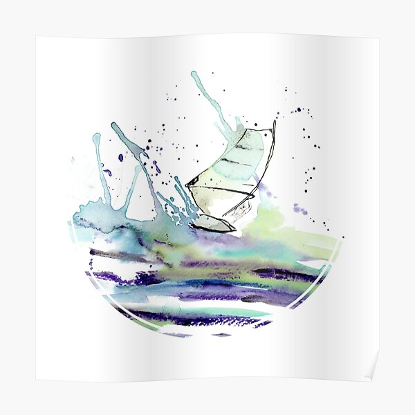 Windsurfer in Watercolor Poster
