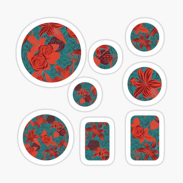 Rote Blumen auf blauem Hintergrund Sticker