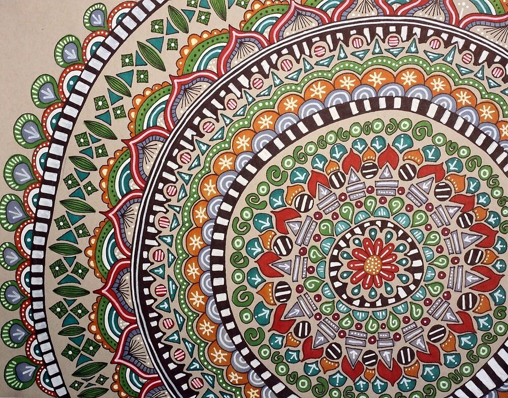 Grey Toned Flower Mandala by hillsandthread