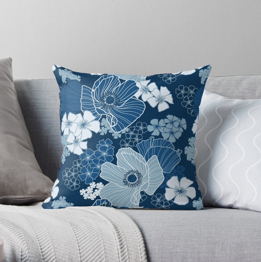 Classic Blue Poppies Throw Pillow