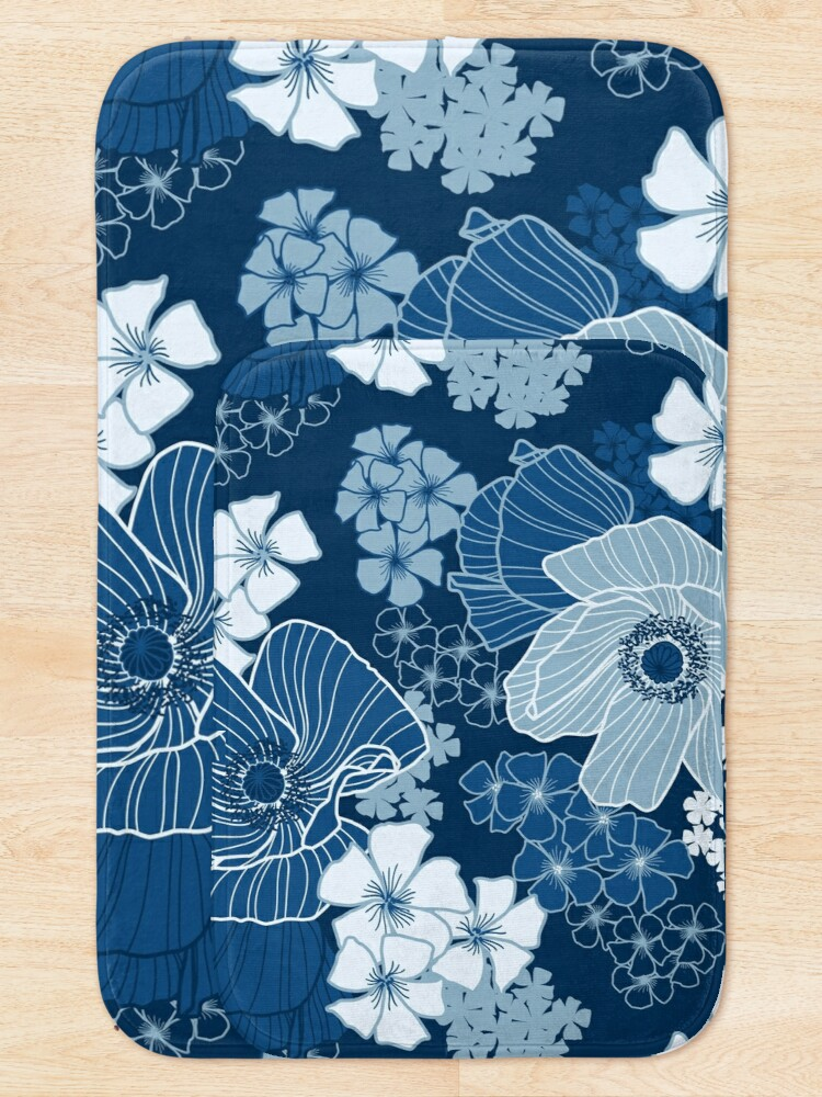Alternate view of Classic Blue Poppies Bath Mat