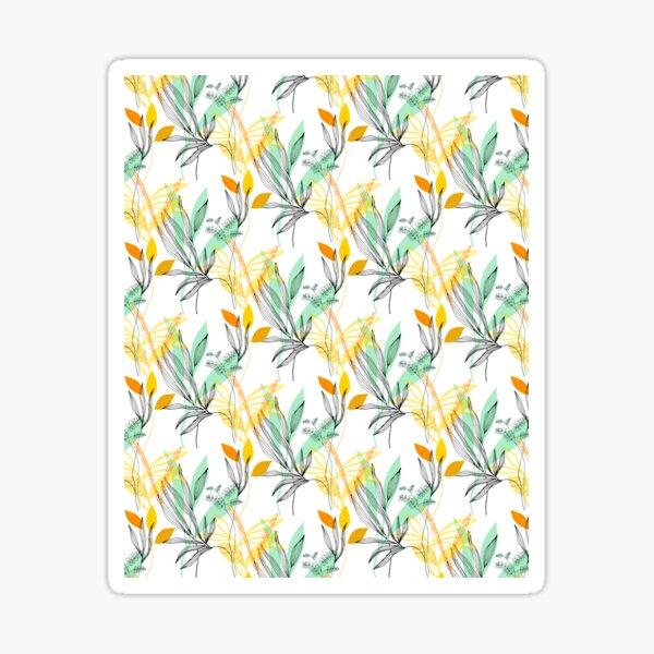 motif floral graphique vert, orange, jaune, blanc et noir Sticker