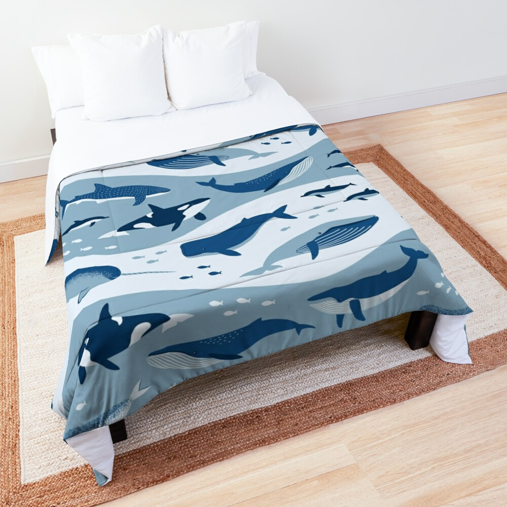 Whale Songs in Blue Waves Comforter