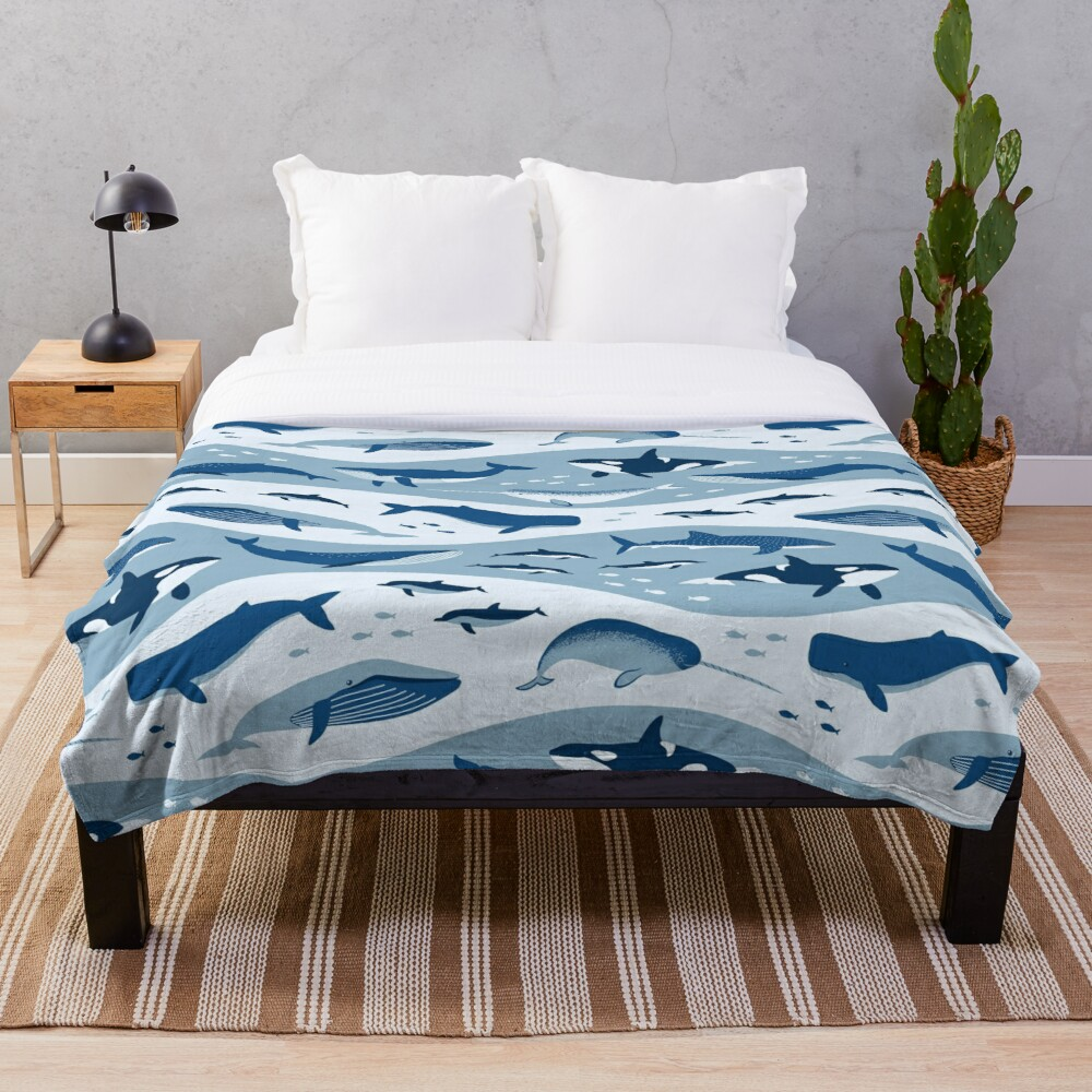 Whale Songs in Blue Ocean Throw Blanket