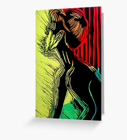 Behind the Curtain (Woodcut Chine Colle) Greeting Card