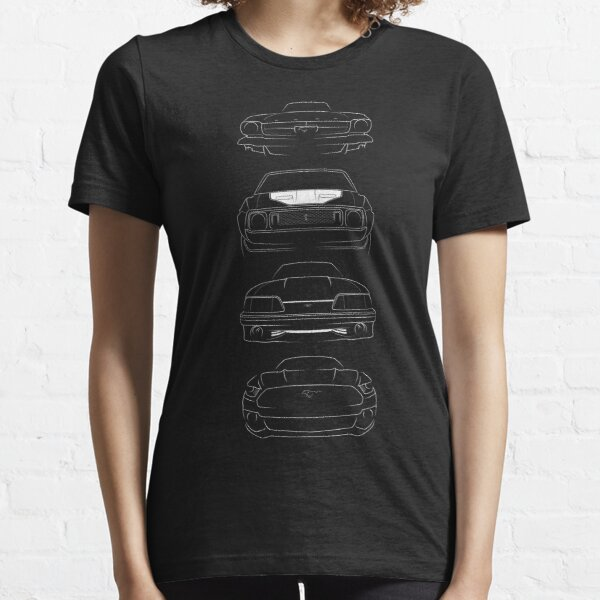 Evolution of the Ford Mustang GT - front stencil, white Essential T-Shirt