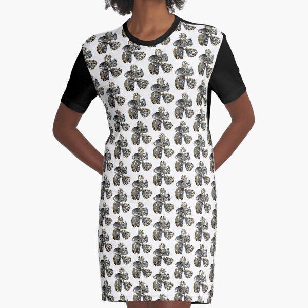 Zebra Prop Flower  Graphic T-Shirt Dress