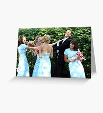 The groom and the girls Greeting Card