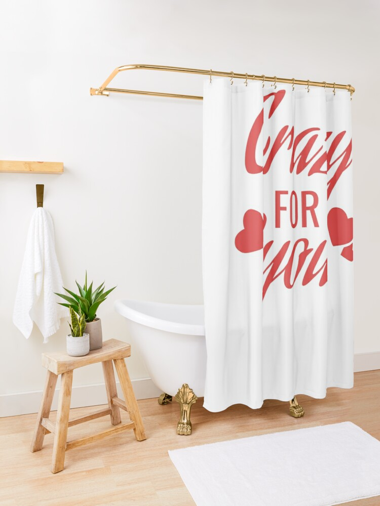 Alternate view of Crazy for you Shower Curtain
