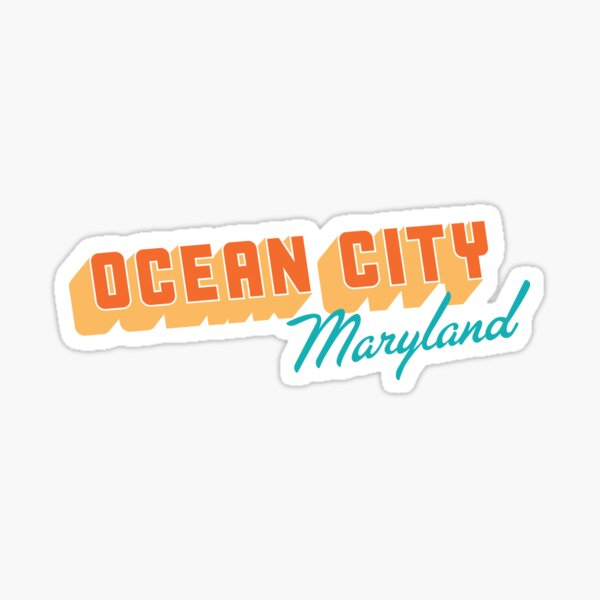 Ocean City Maryland Blue Wave Oval Car Magnet
