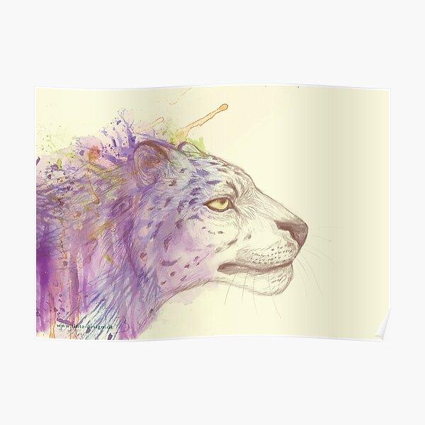 Snow Leopard (by marthalaufej tintadesign) Poster