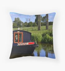 River Barge And Pylons Throw Pillow