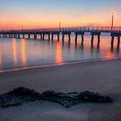 Woodland Beach Fishing Pier Dawn by Michael Mill
