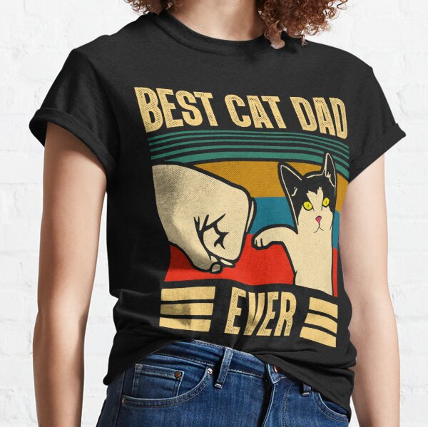 Vintage Best Cat Dad Ever Bump Fit T-Shirt Funny Cat Daddy Father day T-Shirt Classic T-Shirt