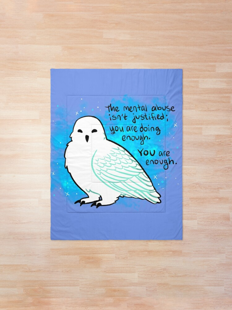 """Alternate view of """"You Are Enough"""" Snowy Owl Comforter"""