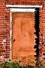 Brown Door and Weathered Bricks by Bob Wall