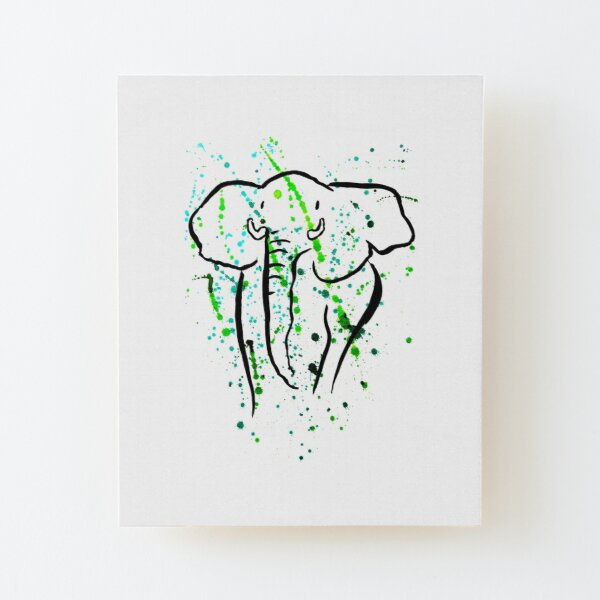 Wilder afrikanischer Elefant I ARTWORK  Aufgezogener Druck auf Holz