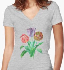 Tulip Trio  Women's Fitted V-Neck T-Shirt
