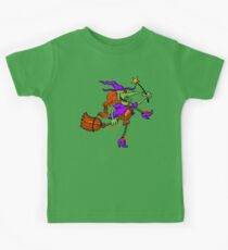 Crazy Witch Dancing with her Magic Wand Kids Tee
