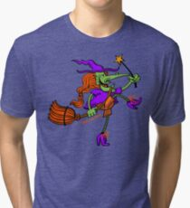 Crazy Witch Dancing with her Magic Wand Tri-blend T-Shirt