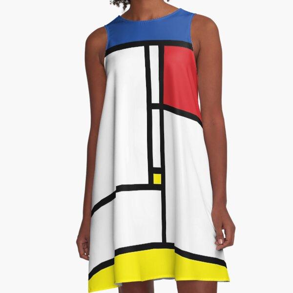 Mondrian Minimalist De Stijl Modern Art © fatfatin A-Line Dress