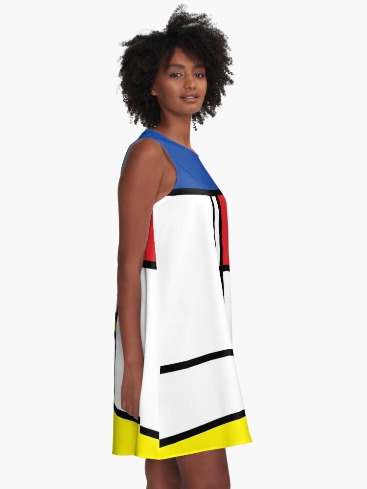 Alternate view of Mondrian Minimalist De Stijl Modern Art © fatfatin A-Line Dress