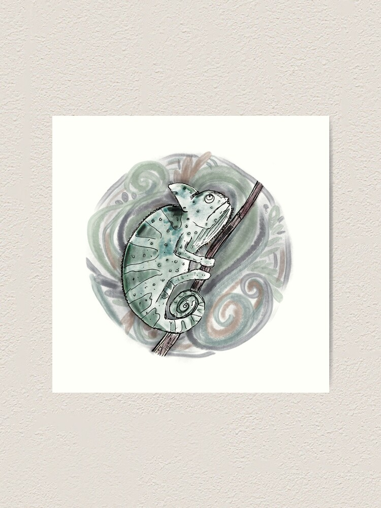 Alternate view of Chameleon / Chameleon Drawing / Chameleon Watercolor / Amphibian Art Art Print