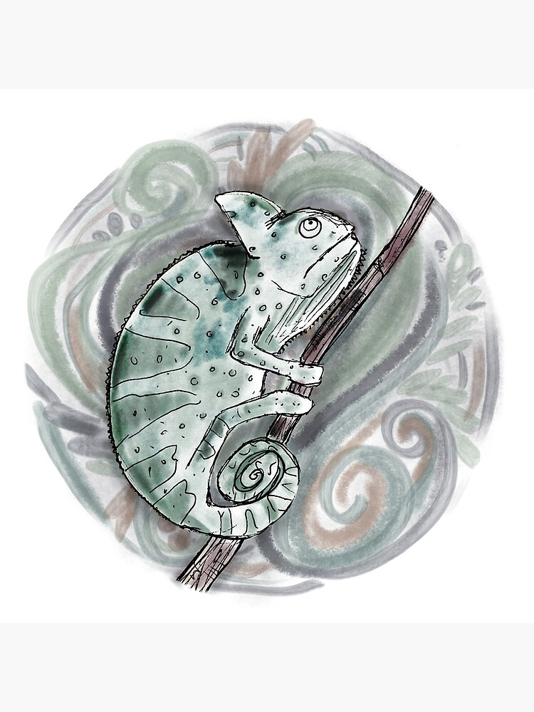 Chameleon / Chameleon Drawing / Chameleon Watercolor / Amphibian Art by lauramaxwell