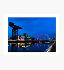 Night Reflections - Glasgow Titan and Squinty Bridge. Art Print