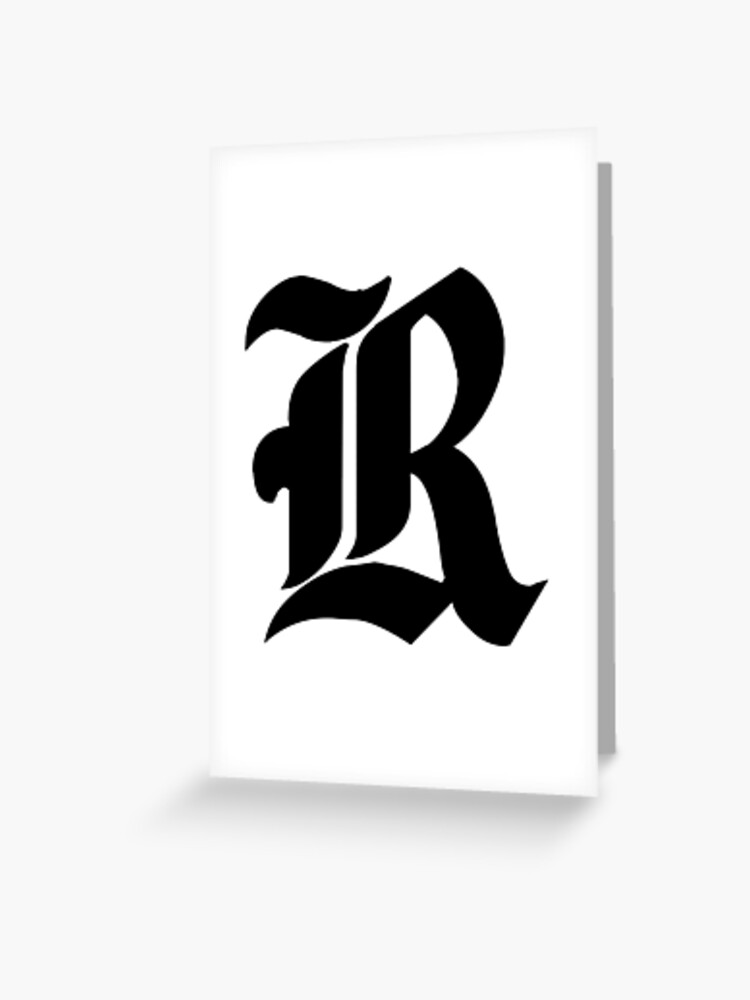 Old English Lettering R Greeting Card By Drayziken Redbubble