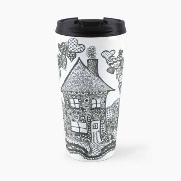 Doodle Art 'Home is where the Heart is' Travel Mug