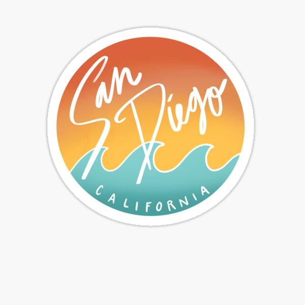 San Diego, California Sunset Sticker Orange and Blue Sticker