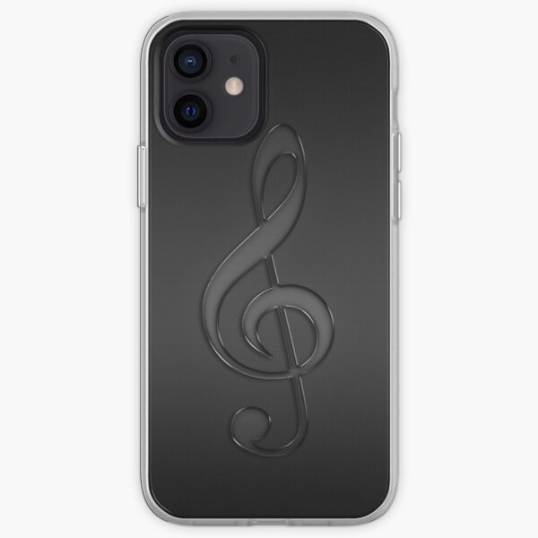 Treble clef music note dark iPhone Soft Case