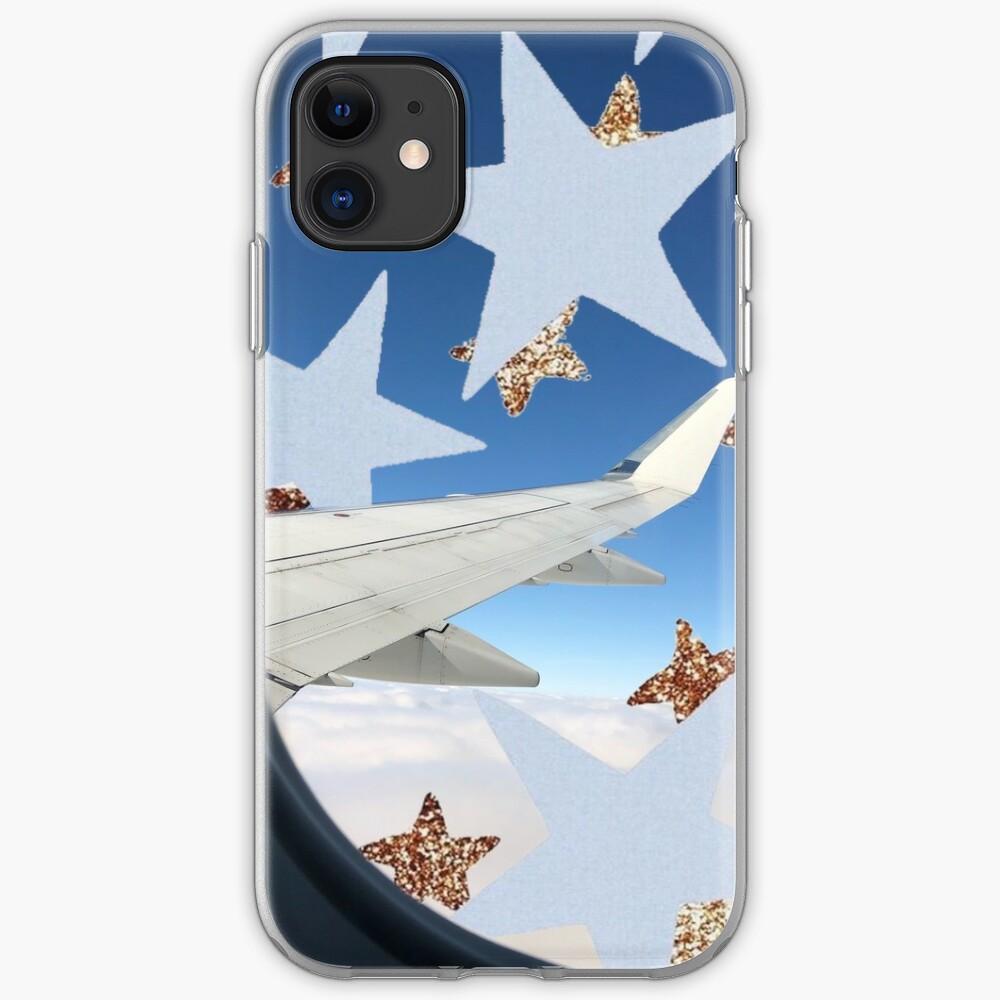 Airplane Window Stars Aesthetic Glitter Stars Clouds Iphone Case