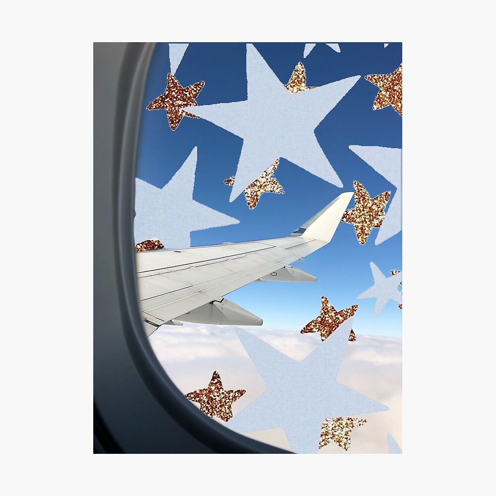 Airplane Window Stars Aesthetic Glitter Stars Clouds Poster By