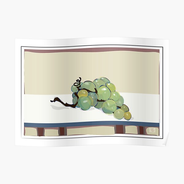 Grapes on white tabletop Poster
