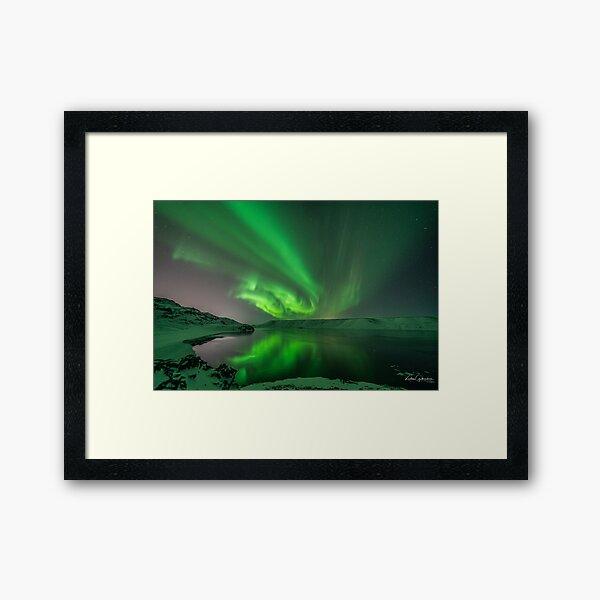 Aurora over lake Kleifarvatn Iceland Framed Art Print