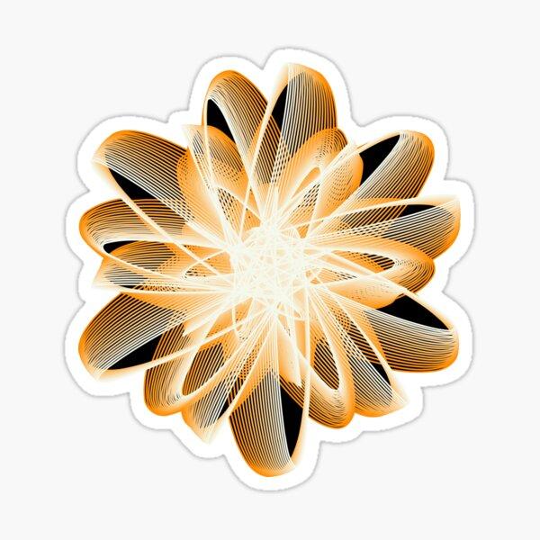 Abstract Flower in Orange Black White Sticker