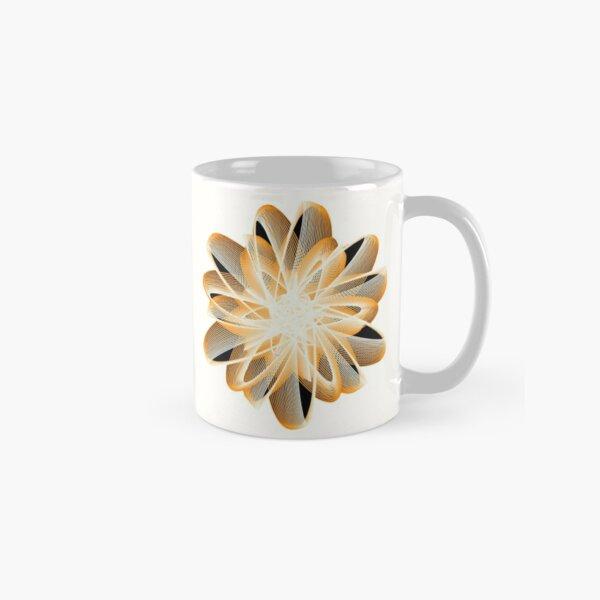 Abstract Flower in Orange Black White Classic Mug