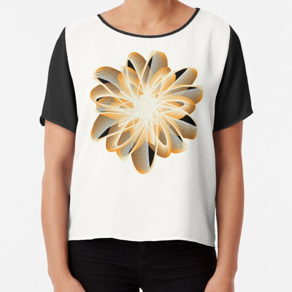 Abstract Flower in Orange Black White Chiffon Top
