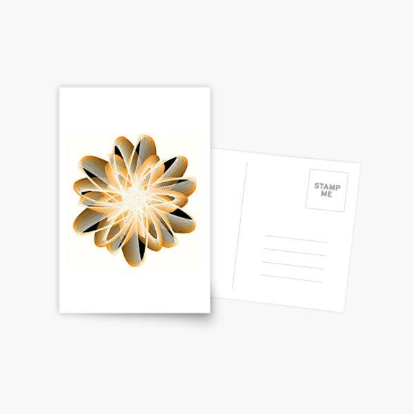 Abstract Flower in Orange Black White Postcard