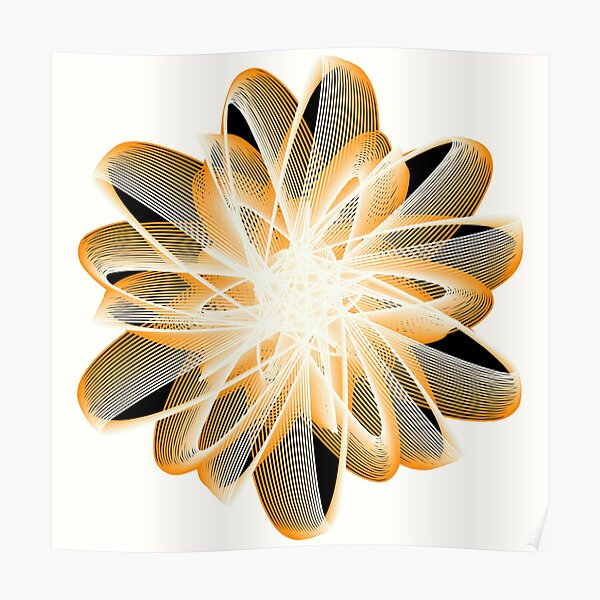 Abstract Flower in Orange Black White Poster