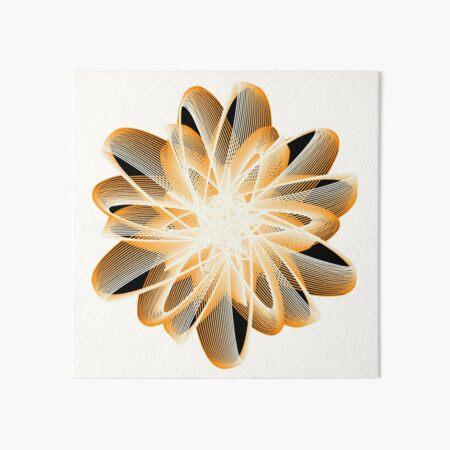 Abstract Flower in Orange Black White Art Board Print