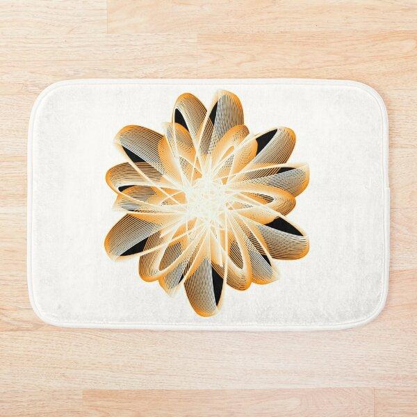 Abstract Flower in Orange Black White Bath Mat