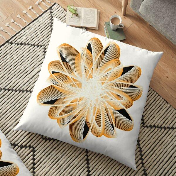 Abstract Flower in Orange Black White Floor Pillow