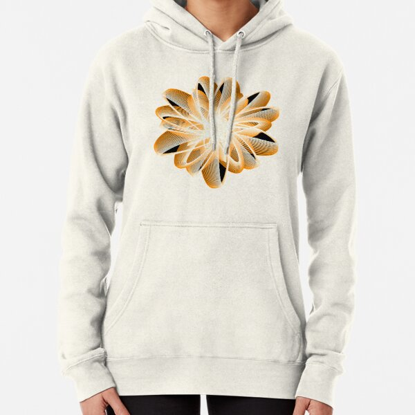 Abstract Flower in Orange Black White Pullover Hoodie
