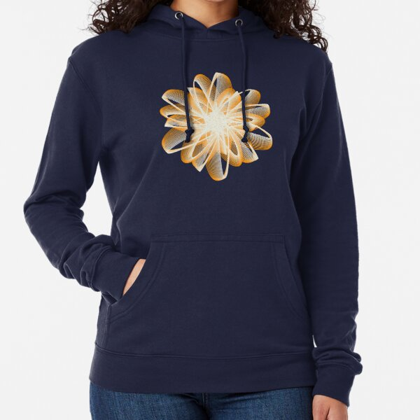 Abstract Flower in Orange and Black Lightweight Hoodie