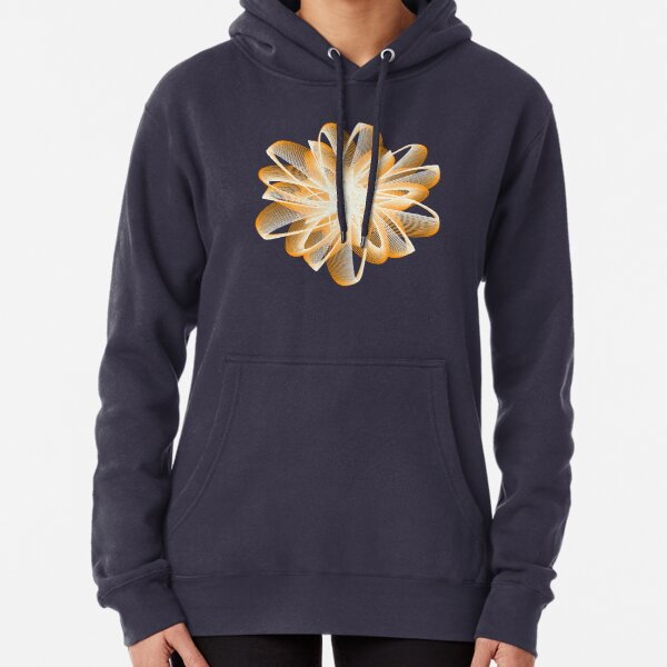 Abstract Flower in Orange and Black Pullover Hoodie